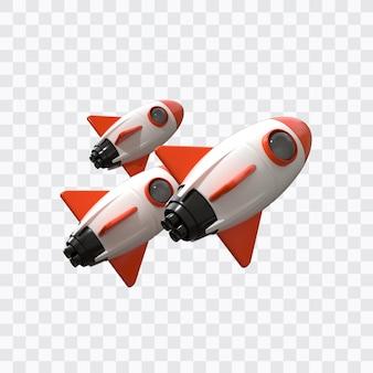 Rendering 3d di razzi spaziali isolati