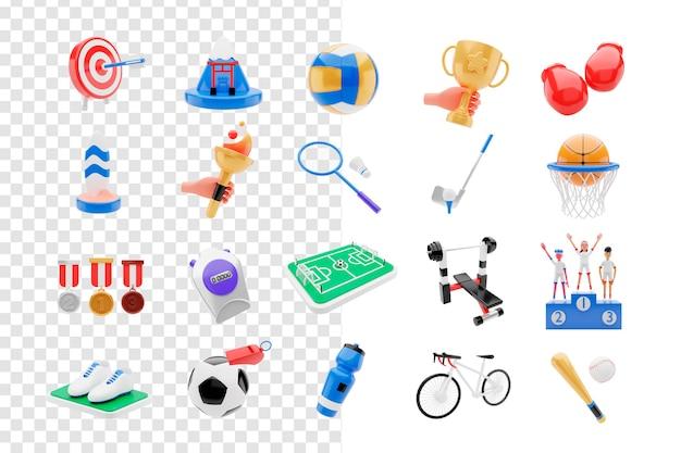 Insieme di oggetti sportivi di rendering 3d