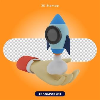 Illustrazione di razzo di avvio di rendering 3d