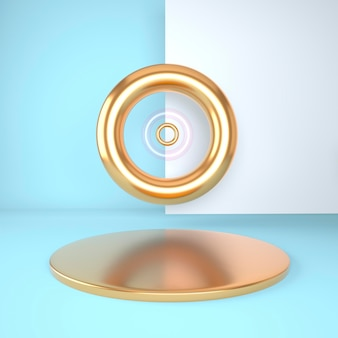 Studio di rendering 3d con forme geometriche, podio sul pavimento. piattaforme per la presentazione del prodotto, mock up dello sfondo.