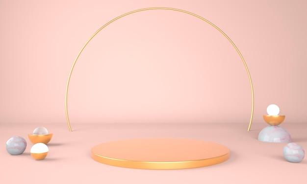 Studio di rendering 3d con forme geometriche, podio sul pavimento.