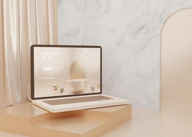Rendering 3d surreale piattaforma laptop mockup display pastello