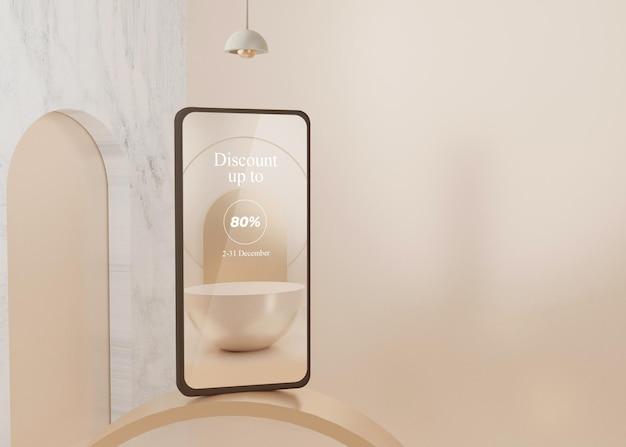 Piattaforma surreale di rendering 3d con display di mockup di telefoni cellulari pastello