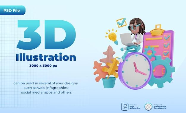 Rendering 3d dell'illustrazione della gestione del tempo