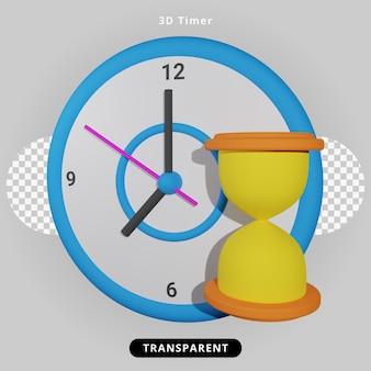 Rendering 3d orologio timer e illustrazione della clessidra