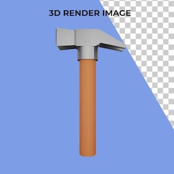 Strumento di rendering 3d martello psd premium