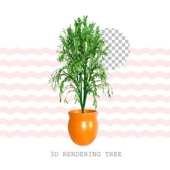 Rendering 3d albero pianta in vaso