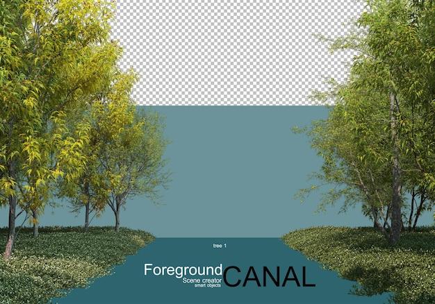 Rendering 3d di alberi lungo il canale