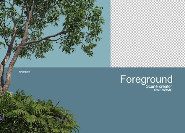 Rendering 3d di alberi in primo piano isolato