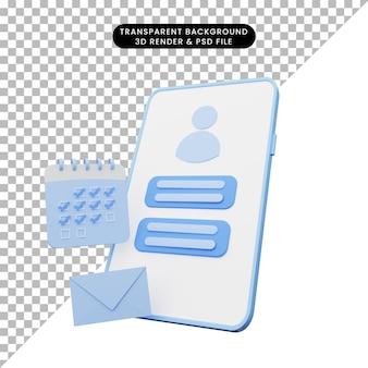 Rendering 3d dell'illustrazione dell'interfaccia utente su smartphone