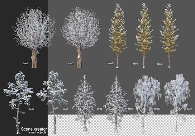 Rendering 3d vari tipi di alberi d'inverno