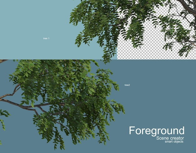 Rendering 3d di vari alberi in primo piano Psd Premium