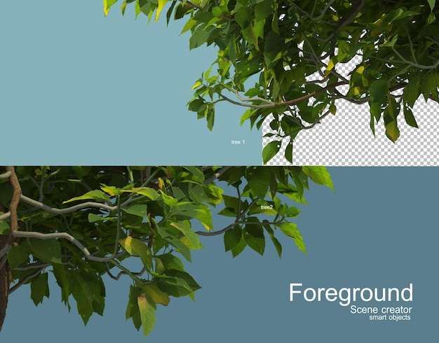 Rendering 3d di vari alberi in primo piano