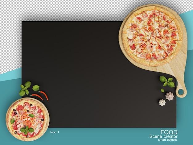 Rendering 3d di vari tipi di layout alimentari