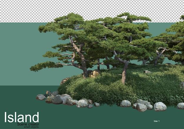 Rendering 3d di vari tipi di alberi dell'isola