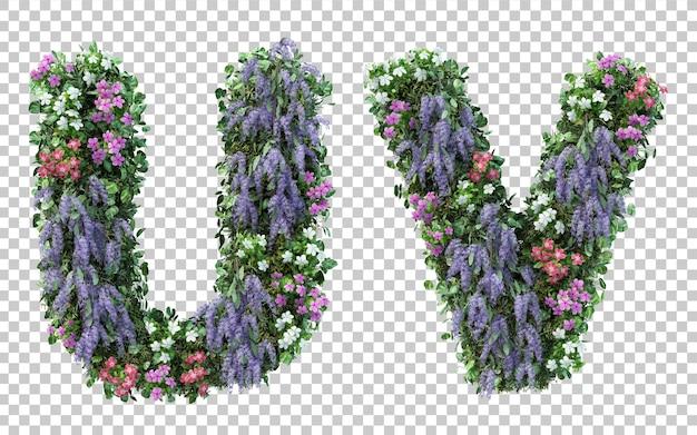Rendering 3d di alfabeto giardino fiorito verticale u e alfabeto v isolato