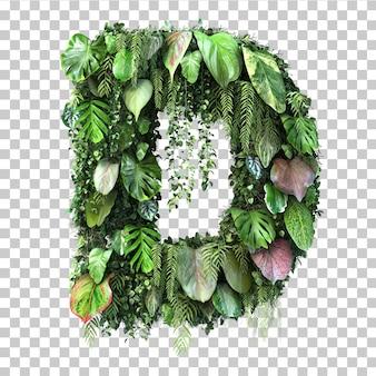 Rappresentazione 3d dell'alfabeto verticale d del giardino