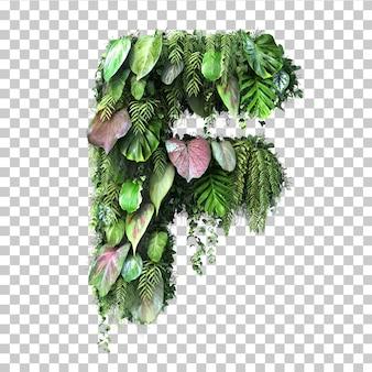 Rappresentazione 3d dell'alfabeto verticale f del giardino