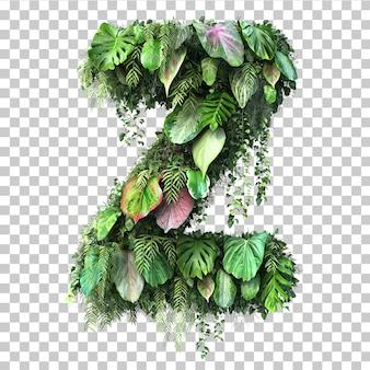 Rappresentazione 3d dell'alfabeto verticale z del giardino