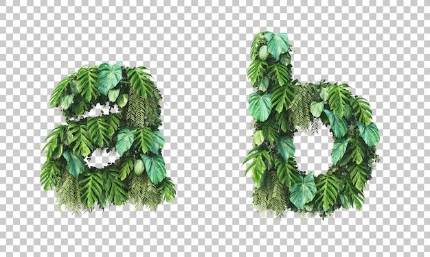 Rappresentazione 3d dell'alfabeto minuscolo a del giardino verticale a e dell'alfabeto b