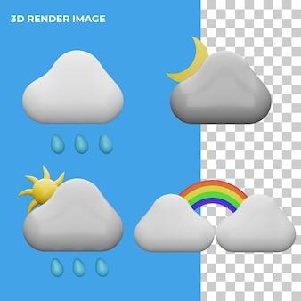 3d rendering icona meteo concetto isolato Psd Premium