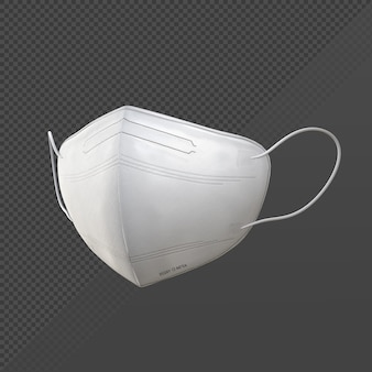 Rendering 3d della maschera medica bianca dalla vista prospettica