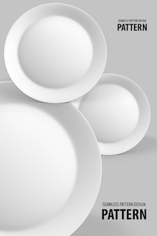 Rendering 3d di piatti bianchi