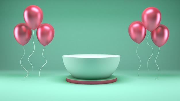 Rappresentazione 3d di un podio bianco e dei palloni rosa su una stanza verde per la presentazione del prodotto