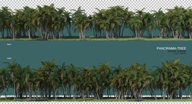 Rendering 3d di disposizione ad albero grandangolare Psd Premium