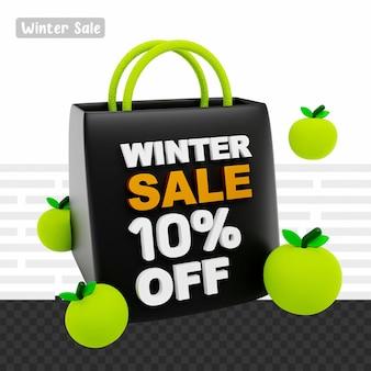Rendering 3d saldi invernali 10% di sconto sul testo