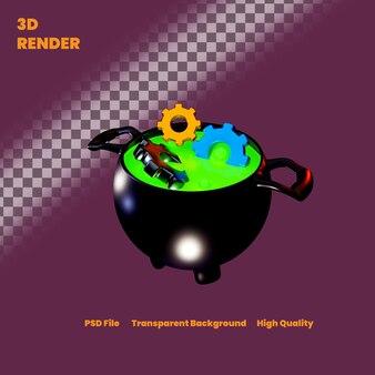 3d rendering strega pot impostazione illustrazione per halloween