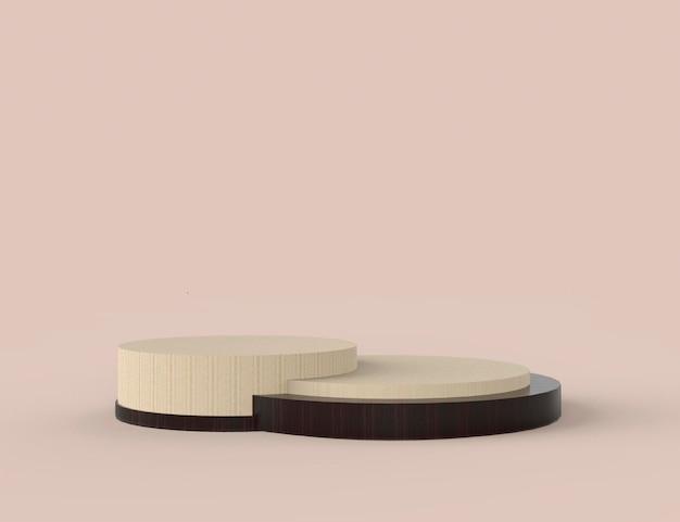 Stand di prodotto in legno di rendering 3d su priorità bassa.