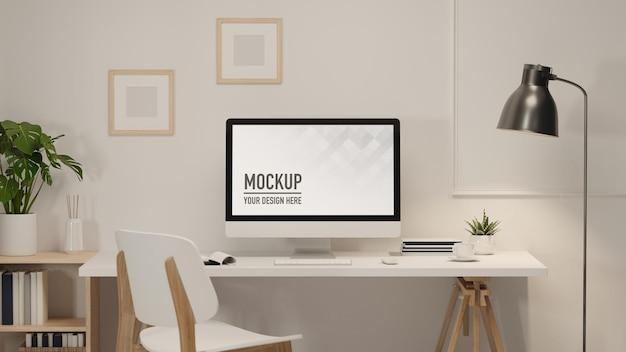 Area di lavoro di rendering 3d con forniture di computer e decorazioni