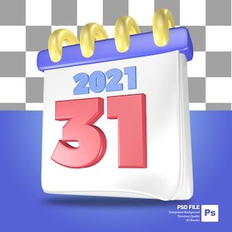 Rendering 3d dell'oggetto calendario di fine anno in blu e bianco con il numero 31 in rosso