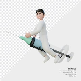 Rendering 3d del medico che guida una iniezione trasparente della mosca