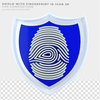 3d renderingshield con icona id impronta digitale