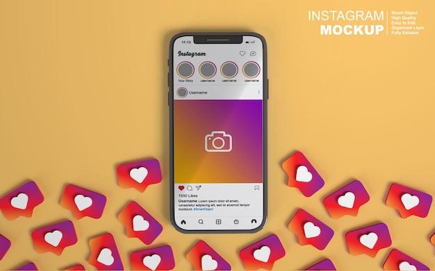 Modello di smartphone rendering 3d con post instagram social media modificabile