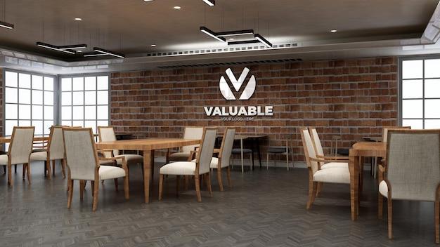 Mockup logo 3d ristorante o bar con muro di mattoni