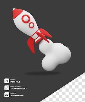 Illustrazione razzo 3d icona con sfondo trasparente