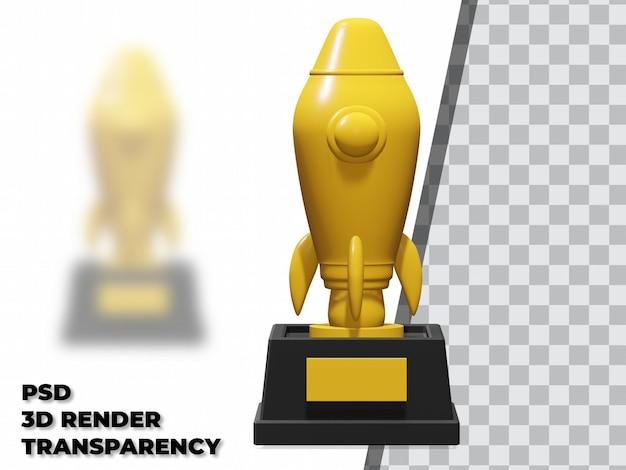 Trofeo rocket 3d con sfondo trasparente