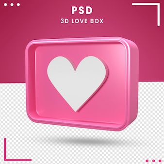 3d logo ruotato di love box