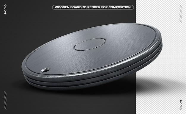 Tavola di legno nera rotonda 3d isolata