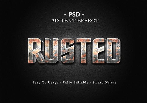 Modello di effetto di stile di testo 3d arrugginito