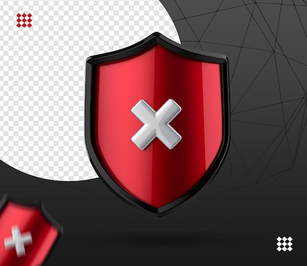 Icona del logo di blocco di sicurezza 3d, cerca sicurezza, scudo con e icona sbagliata