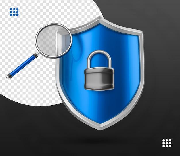 Scudo di icona logo serratura di sicurezza 3d con lucchetto e lente di ingrandimento