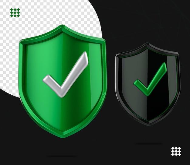 Logo di sicurezza di sicurezza 3d due verde e vetro, cerca sicurezza