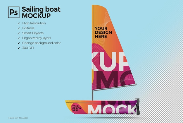 Progettazione di mockup di barca a vela 3d