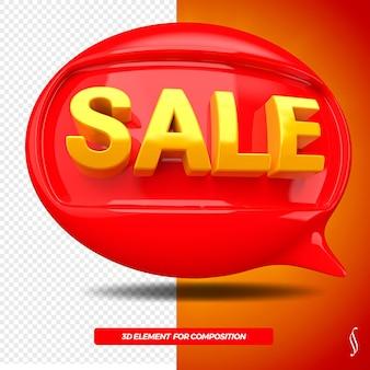 Icona anteriore del messaggio di palloncino di vendita 3d