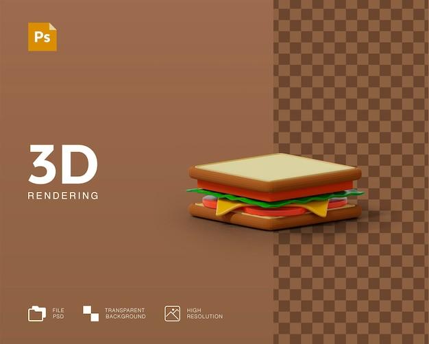 Rendering 3d dell'illustrazione del panino