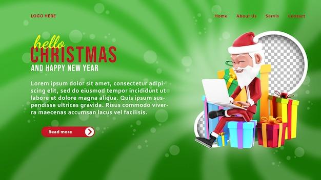 Modello di pagina di destinazione 3d di babbo natale e regali di natale